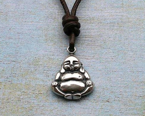 Leather Necklace with Sterling Silver Buddha 24x18x4mm Pendant