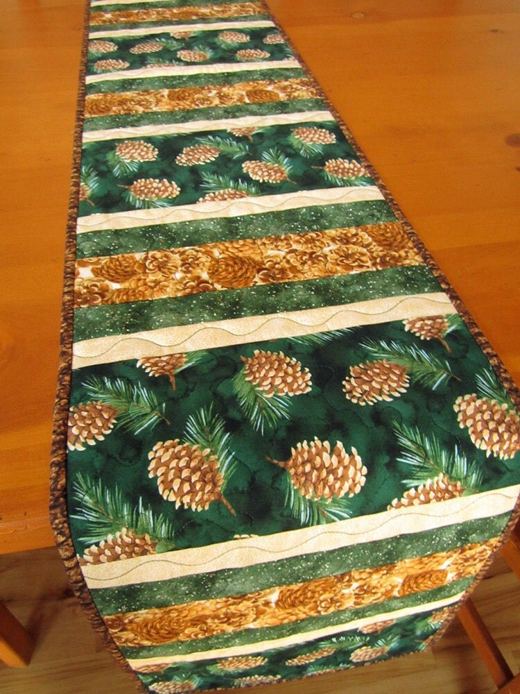 Quilted Table Runner Mountain Pine Cone Stripes Handmade