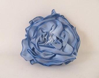 Ribbon Rose Pin-Hair Clip-Brooch-Blue-Light Blue