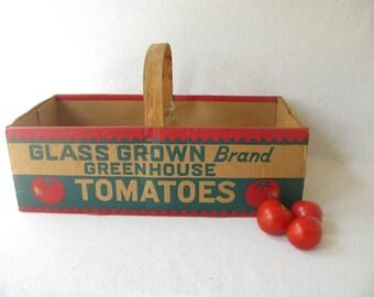 Vintage Tomato Basket, advertising, home decor, kitchen storage