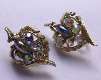 Vintage Silver Toned Coro Clip Earrings With Aurora Borealis Rhinestones and Lavender Cabochon