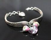 spoon bracelet, sterling silver, lampwork, antique, bracelet (006)