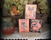 Set of 3 Primitive Halloween Wood Blocks featuring Black Cat Trick or Treat, witching hour, October 31 Skeleton Statteam OFG HaFair