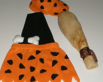 Bamm Bamm Costume - made to order - Hat and Club included