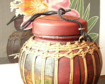 Indonesian Bamboo Bowl Hand painted Rise Bowl.
