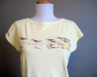 Vintage T-Shirt Yellow Graphic Dolman Beach Top Sandpiper Medium