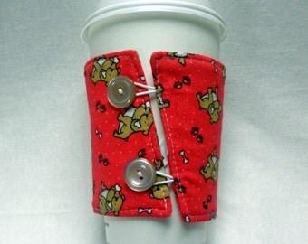 Coffee Cozy -  Coffee Cuff -  Coffee Sleeve - Reuseable Fabric Cozy - Eco Friendly - Bulldogs on Red