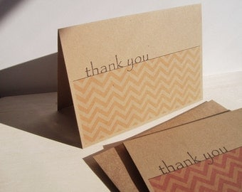 Chevron Thank You Cards - Kraft Paper Chevron Thank You Notes, Rustic Modern Chevron Stationery Thank You Card Set, Custom Color Note Cards