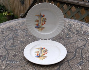 Antique Edwin M. Knowles China (2) - Mexican Scene Decor - Made in the U.S.A. - 1930s