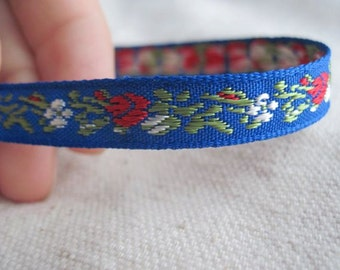 Baby Roses in RED on BLUE Jacquard Ribbon