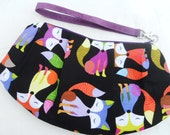 Purse, Wristlet Bag, Clutch, multicolored Foxes on Black with Plum