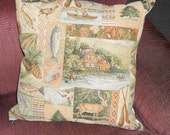 18 inch Pillow Cover, Woodland Pillow Cover, Rustic Pillow, Northwoods, Pine Cones, Deer, Lake, Tapestry
