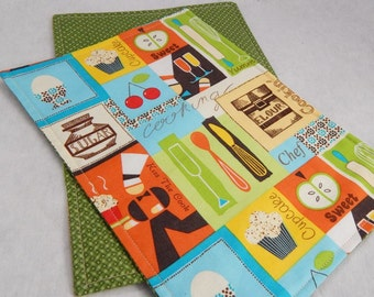 Snack Mats, Mini Placemats, Lunch Mats, Placemats Set of Two Cooking Theme, Made in USA