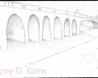 Bridge pencil sketch 328 print