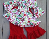 Handmade Outfit Peasant Top Ruffled Pants size 4T toddler ready to ship