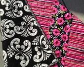 Modern Handmade Baby Infant Toddler Newborn Quilt Flowers Stripes pink black white ready to ship