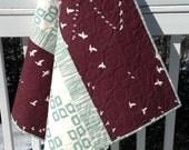 Modern Organic Baby Infant Toddler Newborn Quilt Gender Neutral Birch Organic Fabric Mod Basics Line Teal Brown