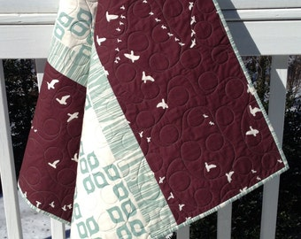 Modern Organic Baby Infant Toddler Newborn Quilt Gender Neutral Birch Organic Fabric Mod Basics Line Teal Brown