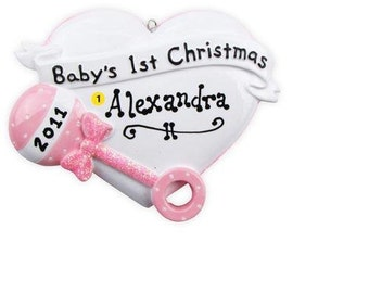 Personalized Christmas Ornament Baby Girl's First Christmas Pink rattle Heart-- Newborn Gift-Free personalization