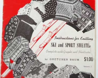 Vintage Booklet Snowtime Sweaters Knitting 1948