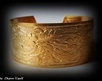 1 Foral Filigree Bracelet Flowers Raw Brass Cuff Art Deco (B-4)