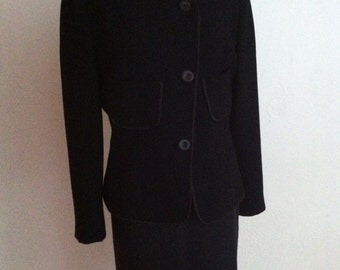 Beautiful Asymmetrical Black Wool and Silk Vintage GALANOS Suit M