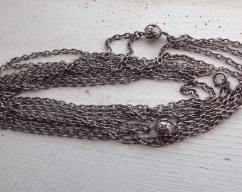 Extra Long Vintage Necklace / Filigree / Silver