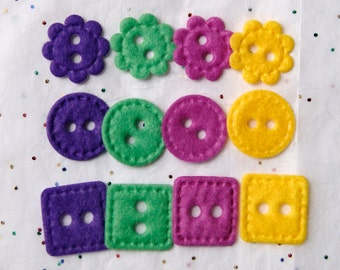 Clearance 12 Felt Buttons   BRIGHTS, Embellishments, Scrapbook SALE   (AB-2)