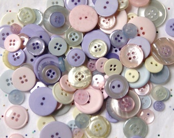 25 LIGHT PASTEL Colored Buttons - Blue, Pink, Yellow, Lavender , Green Mix  Grab Bag (1555)