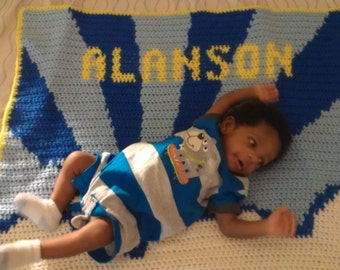 Nameplate baby blanket
