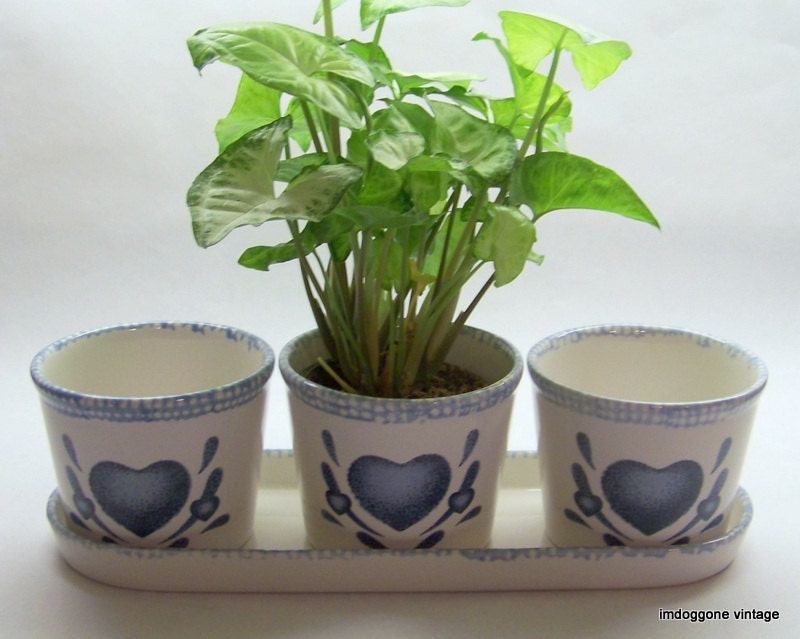 Window sill planter three planters in tray ceramic herb pots Kitchen windowsill herb pots