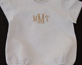 Embroidered / monogrammed / personalized blue linen blend boy's bubble / size 12 months / 1 year