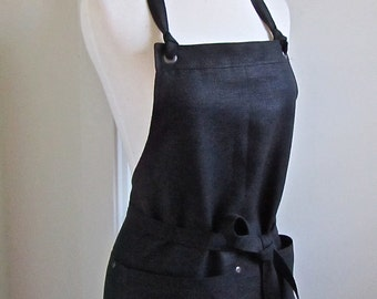 Full  Apron Woman  Black  Linen Long  Work Kitchen Hostess