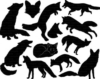 Fox Clip Art, Fox Digital Stamps. Fox Face Silhouette & Outlines, Royalty Free Hand Drawn ClipArt PNG + PS Brush, Animal Graphic