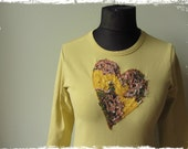 RESERVED Upcycled Yellow Tshirt with Tattered Heart Applique, Boho Heart Shirt, Repurposed Clothing, Mori Girl Top, Sustainable Eco Fashion