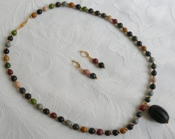 Earth Tones Wood Necklace and Earring Set with Fluted Black Wood Pendant