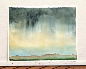 Big sky rain, original watercolor painting, gray, yellow, abstract landscape, plains, western US