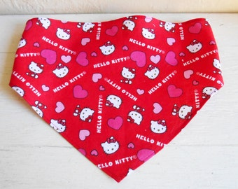 Hello Kitty And Hearts On Bright Red Girls Head Scarf