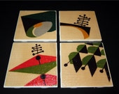 "Atomic Vintage Barkcloth Coasters - Spacely Sprocket - GREAT Gift Idea - Ceramic Tiles - Set of 4 - approx 4"" x 4"""