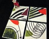 "Mid Century Vintage Barkcloth Coasters - Space Age Mobiles Pattern 1 - GREAT Gift Idea - Ceramic Tiles - Set of 4 - approx 4"" x 4"""