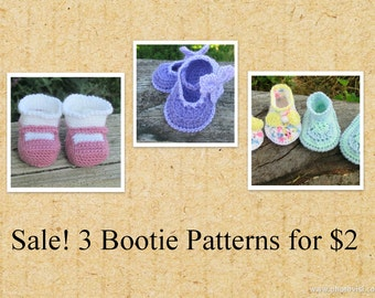 Sale- 3 Baby Bootie Patterns