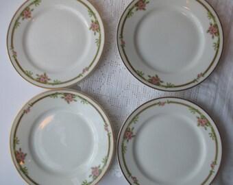 Haviland Limoges Pink Green Floral Bread & Butter Plates Set of Four - Vintage Chic