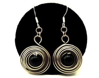 Wire Wrap Spiral Earrings, Dangle Earrings, Black Stone Earrings, Gemstone Earrings, Dangly Earrings, Twist Earrings, Silver Wire