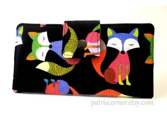 Wallet for women Colorful Shy little fox in bright colors - Made to order - handmade clutch - wallet purse