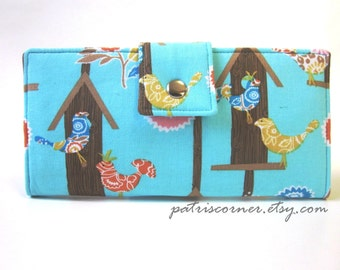 ON SALE - Handmade women's wallet clutch Birds at home - Birdhouses - Ready to ship