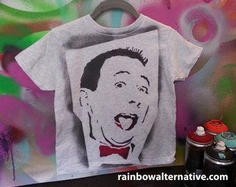 Ode To 80s Pee Wee Herman Kids Toddler Tshirt Stencil Art