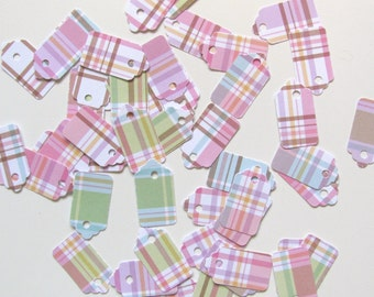 Mini Pastel Plaid Tag Yard Sale Craft Show or Bake Sale 50 pieces