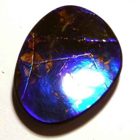ammolite cabochon stabilized freeform blue cobalt by saxdsign