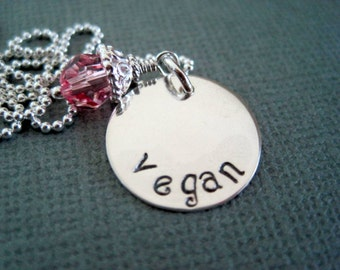Vegan charm necklace-hand stamped silver-womans girls jewelry-engraved inscribed pendant-custom necklace-rose crystal-inspirational jewelry