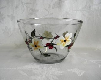 Serving bowl, hand painted bowl, large serving bowl, dinnerware, salad bowl, fruit bowl, bowl with white flowers and red berries